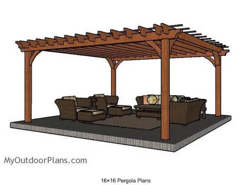 Free plans to build a Pergola 16 x 16 feet.