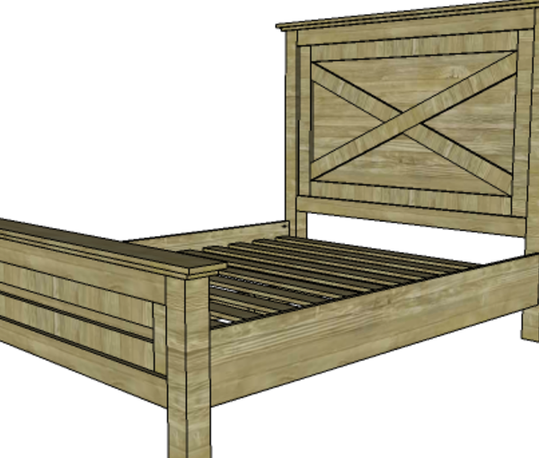 Free plans to build a Farmhouse Bed.