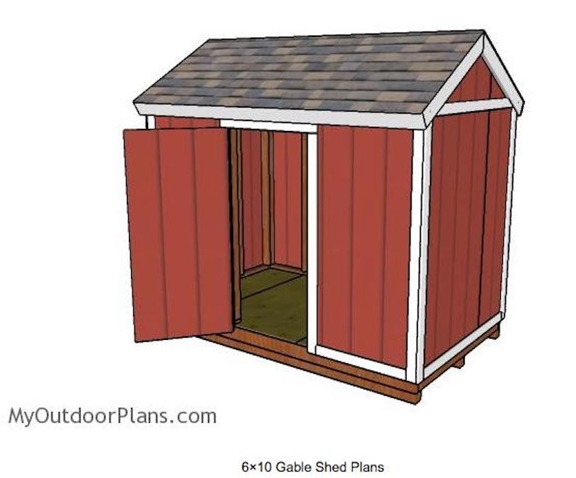 Free plans to build a 6 x 10 Shed.