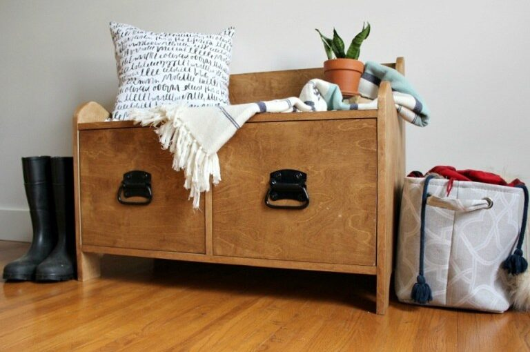 Build an Entryway Storage Bench with free plans.