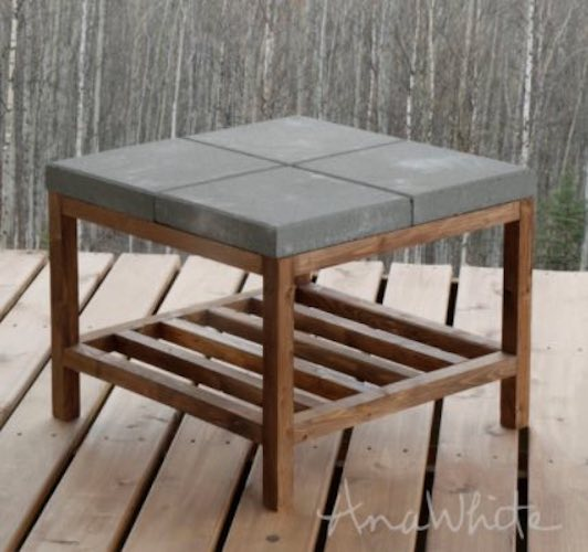 Free plans to build a Coffee Table with Concrete Pavers.