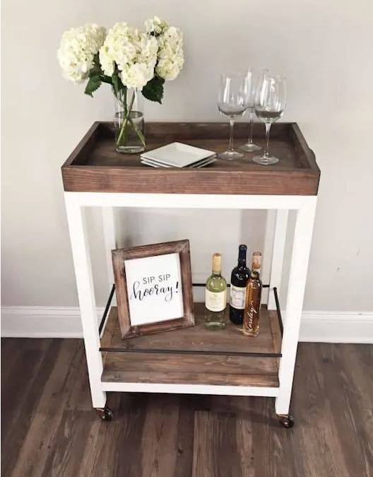 Free plans to build a Classic Bar Cart.