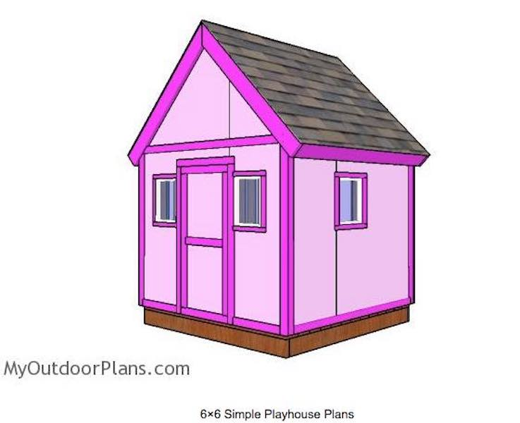 Build a Playhouse 6 x 6 Feet using free plans.