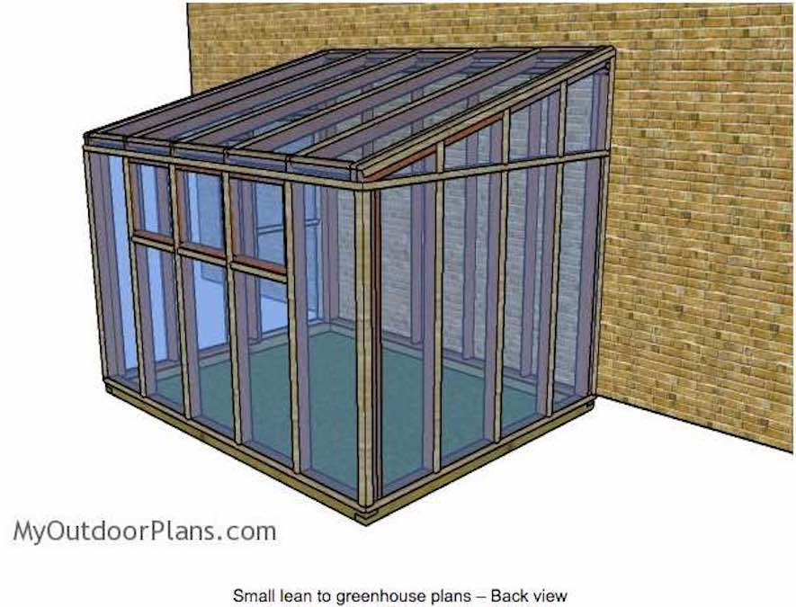 Free plans to build a Small Lean To Greenhouse.