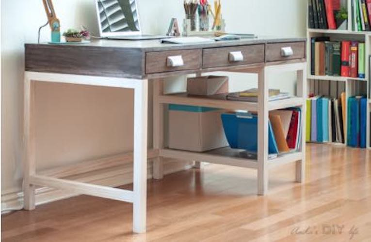 Build a desk using free woodworking plans.