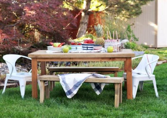 Free plans to build an Outdoor Table for Kids.