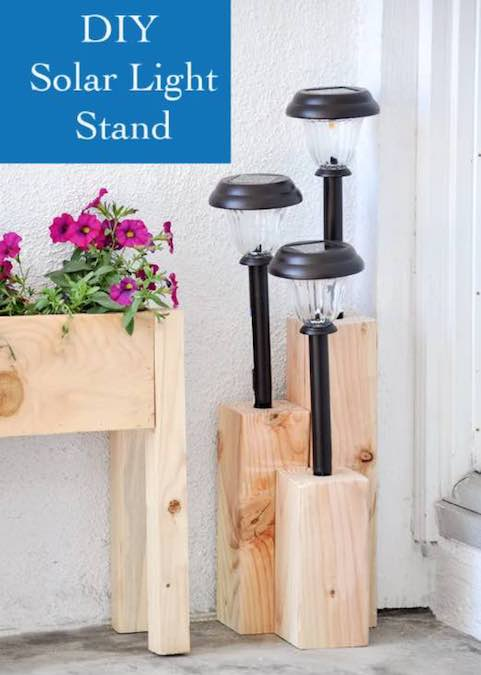 Free plans to build a Solar Light Stand.