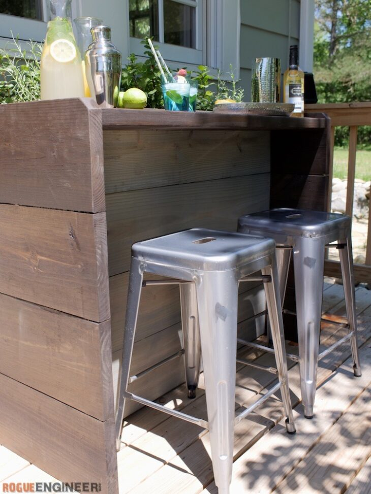 Build an Outdoor Bar using these free plans.