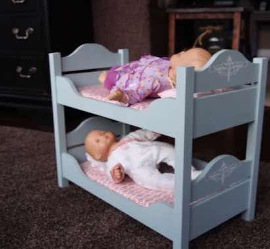 Build a set of Doll Bunk Beds using free plans.