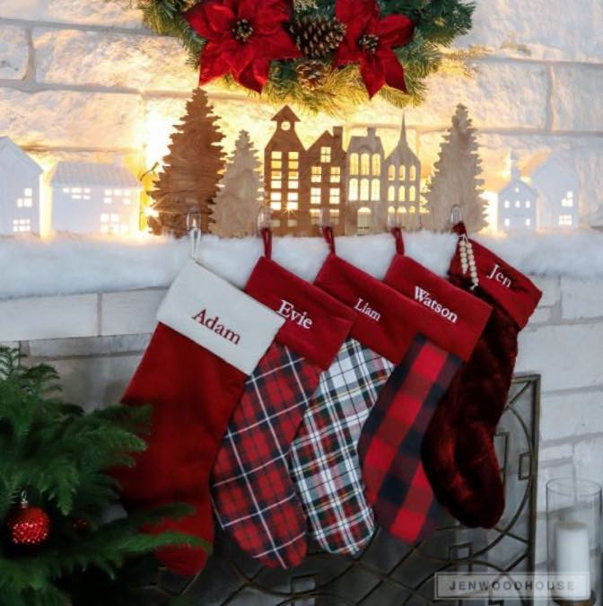 Build a Village Christmas Stocking Hanger using free plans.