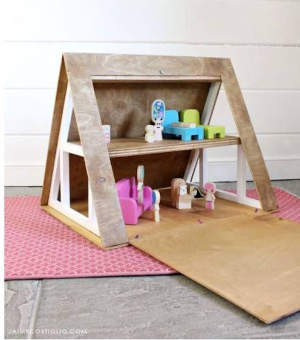 Build an A-Frame Dollhouse using free plans.