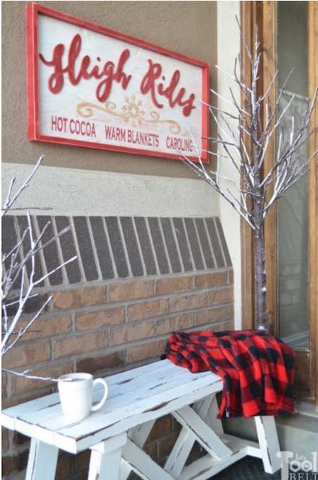 Build a Sleigh Rides Sign using free plans.