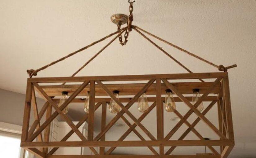 Hanging Wooden X Chandelier
