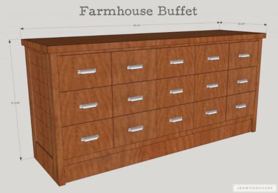 Free plans to build a Farmhouse Buffet.