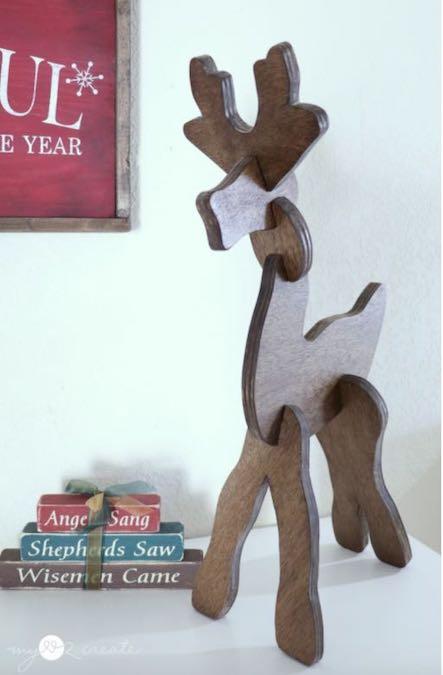 Build Tabletop Reindeer using free woodworking plans.