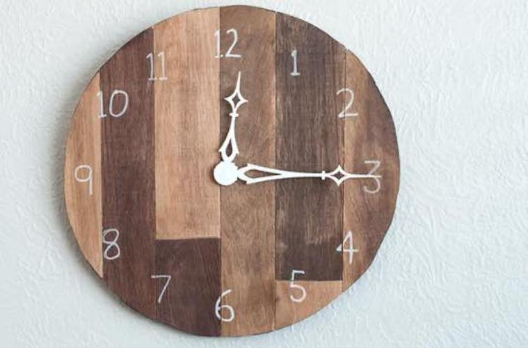 Build a Wall Clock From Scrap Wood using free plans.