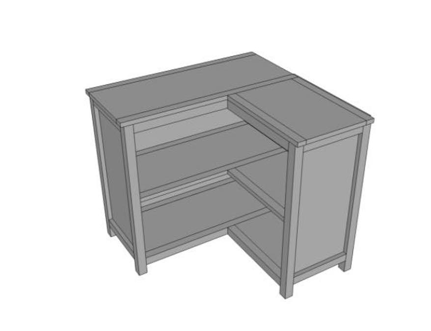 Free plans to build a Corner Bookshelf.