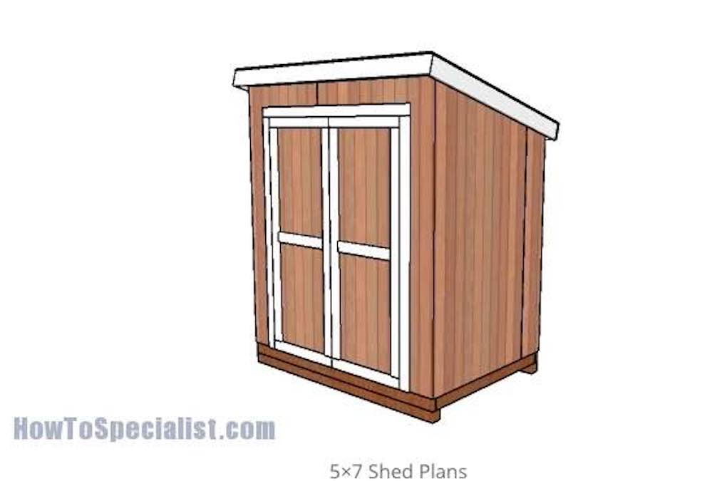Free plans to build a 5 x 7 Lean to Shed.