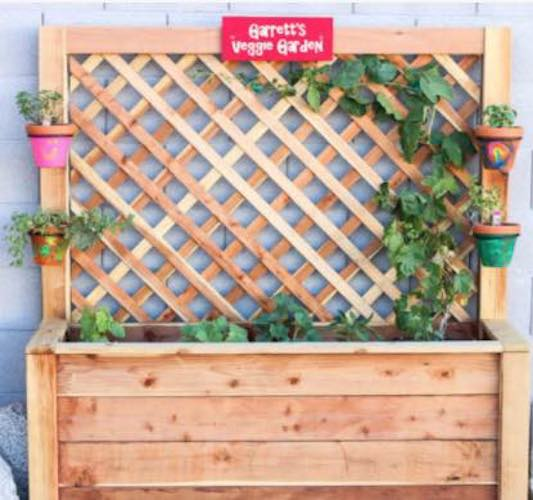 Free plans to build a Raised Garden Bed for Kids.