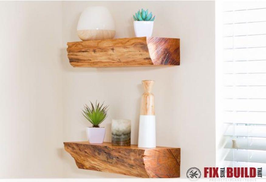 Build Live Edge Floating Shelves using free plans.