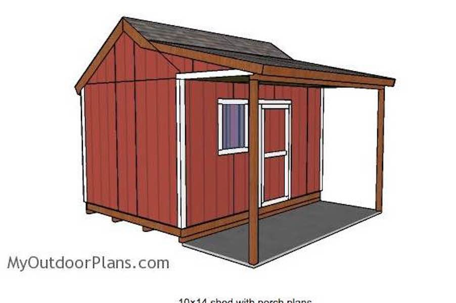 Free plans to build a Shed with Side Porch.