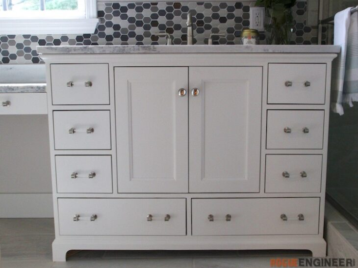 Build a bathroom vanity using these free plans.