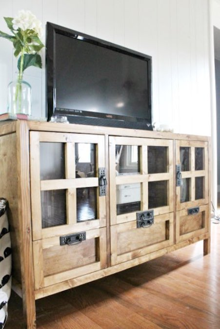 Free plans to build this Modern TV Console.