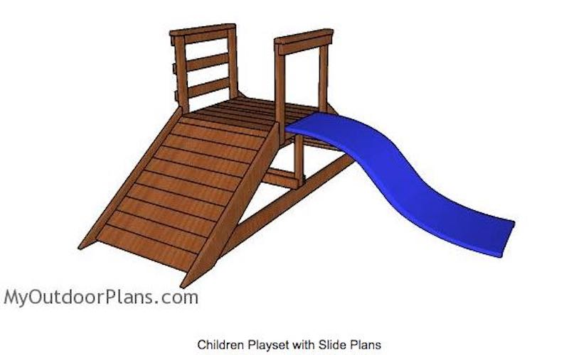 Free plans to build a Playset with Slide.