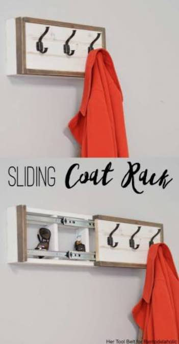 Free plans to build a Coat Rack with Storage.