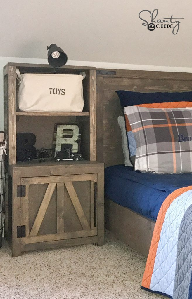 Free plans at the link to build a Bookshelf Nightstand.