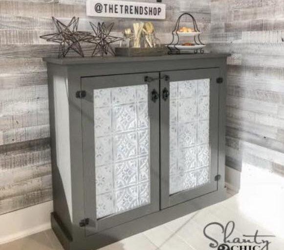 Cabinet with Tin Door Panels