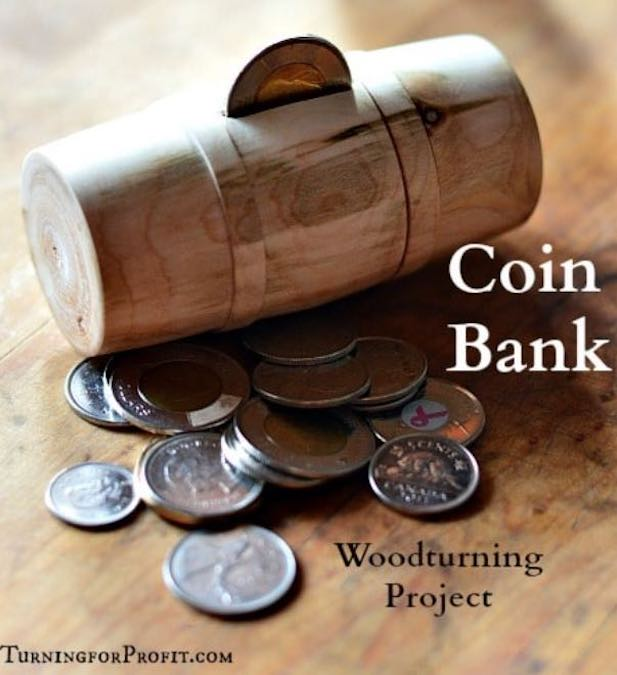 Learn to turn a Barrel Coin Bank on the lathe,