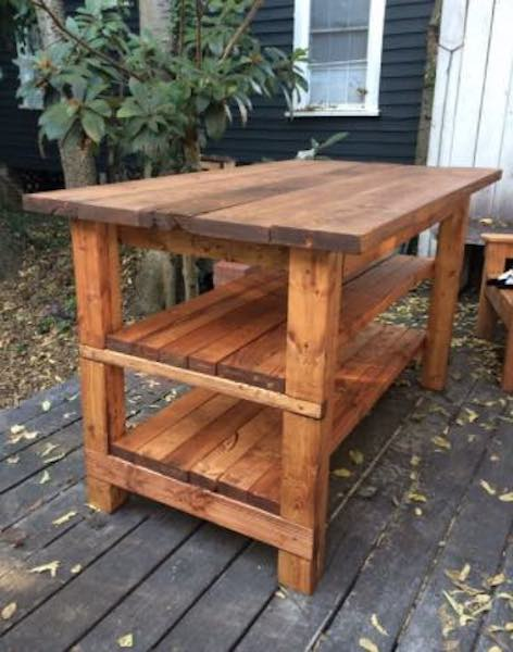 Build a Rustic Kitchen Island using free plans.