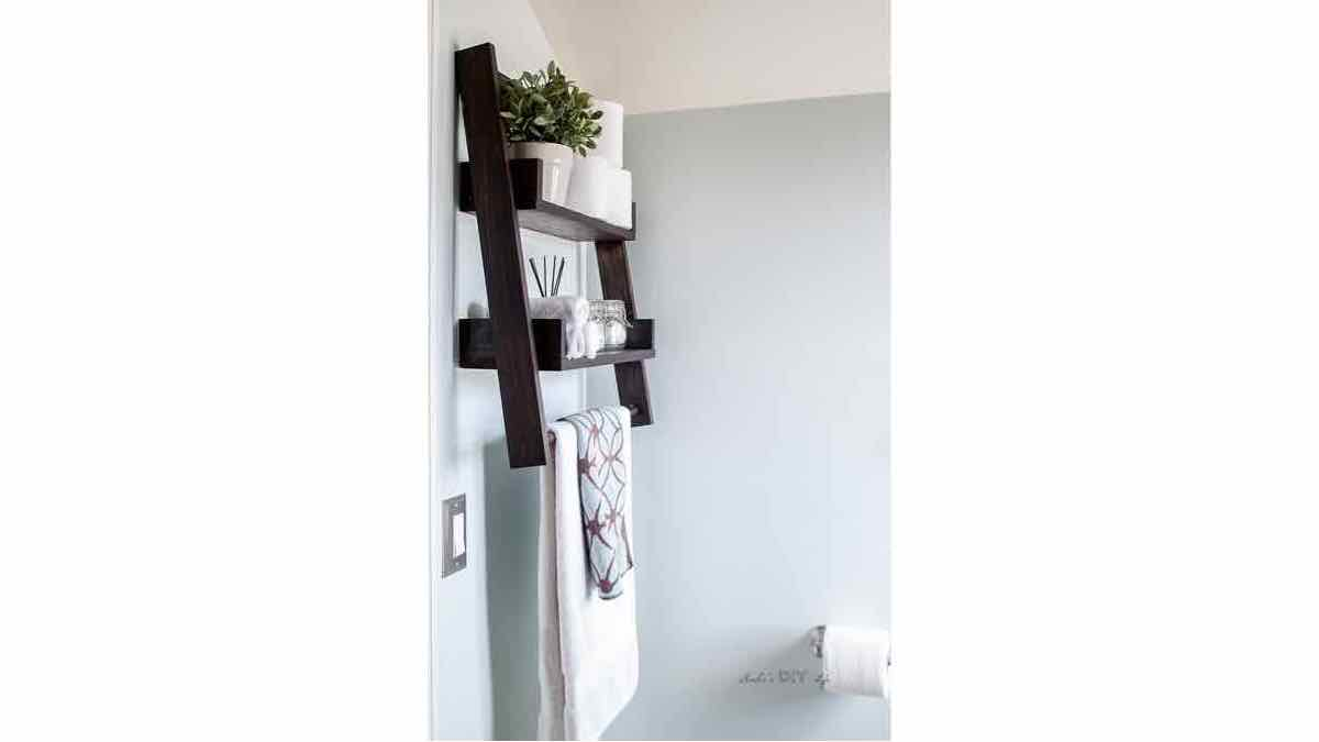ladder shelf,ladder shelves,floating shelves,wall mounted,diy,free woodworking plans,free projects,do it yourself