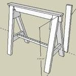 sawhorse,sketchup,Google 3D,3-D warehouse,free woodworking plans,workshop projects,do it yourself