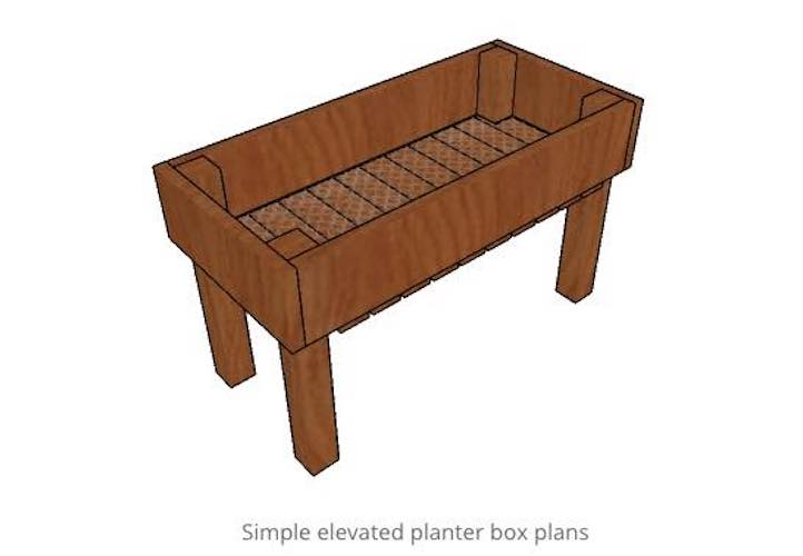 Free plans to build an Elevated Planter Box.