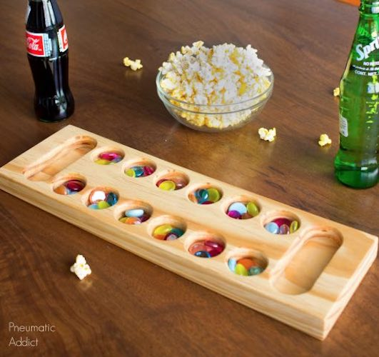 Free plans to build a Mancala Game Board DIY.