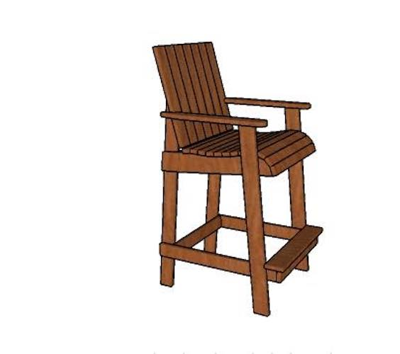 Free plans to build Bar Height Adirondack Chair.