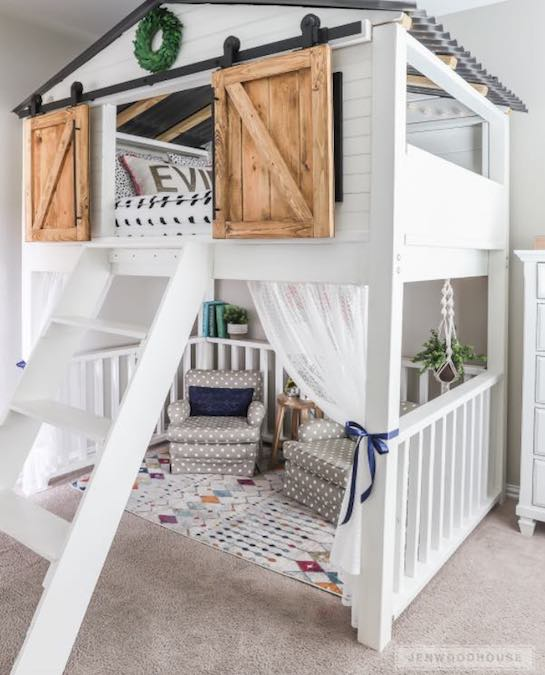 Free plans to build a Loft Bed Sliding Door.