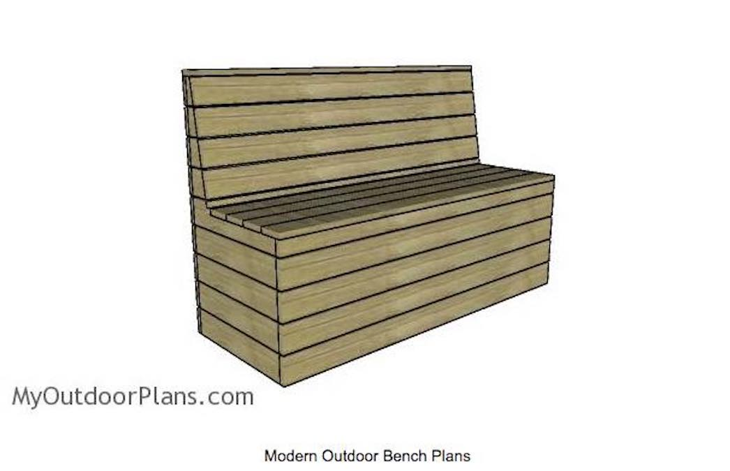 Free plans to build a Modern Outdoor Bench.