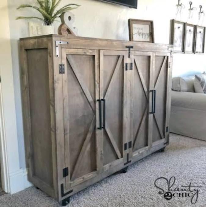 Free plans to build a Farmhouse X Storage Cabinet.