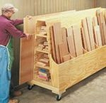 free woodworking plans, projects, wood storage, workshop, racks, mobile