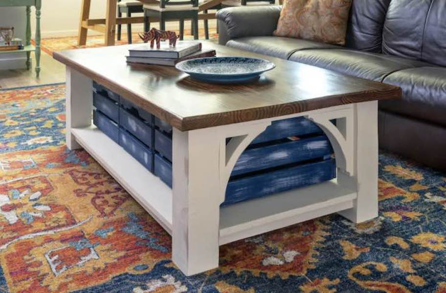 coffee table,farmhouse,furniture,diy,free woodworking plans,free projects,do it yourself