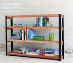 bookcase,bookshelves,industrial,diy,free woodworking plans,free projects,do it yourself