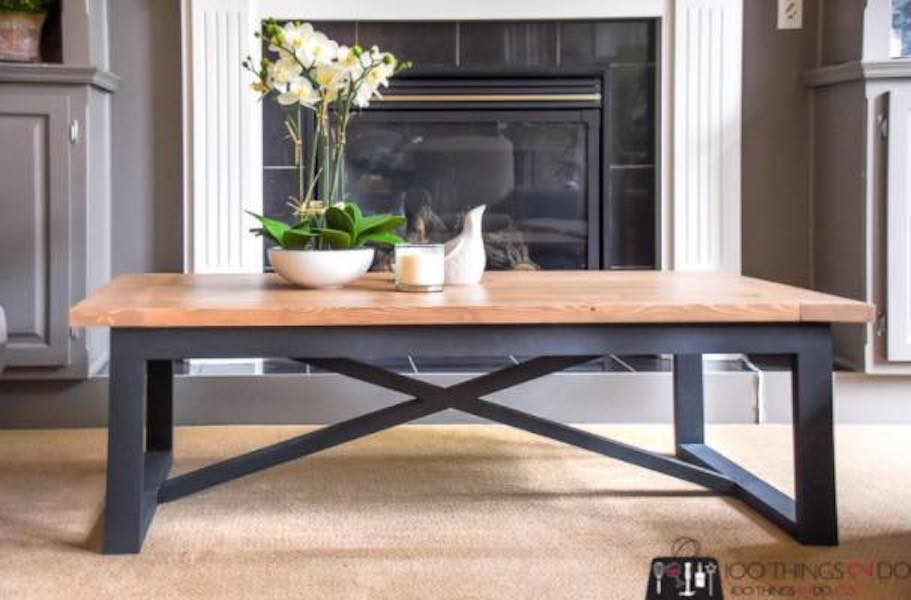 Free plans to build an Industrial Coffee Table.