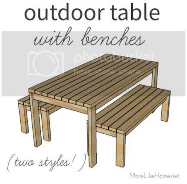 Build an Outdoor Table with Benches using free plans.
