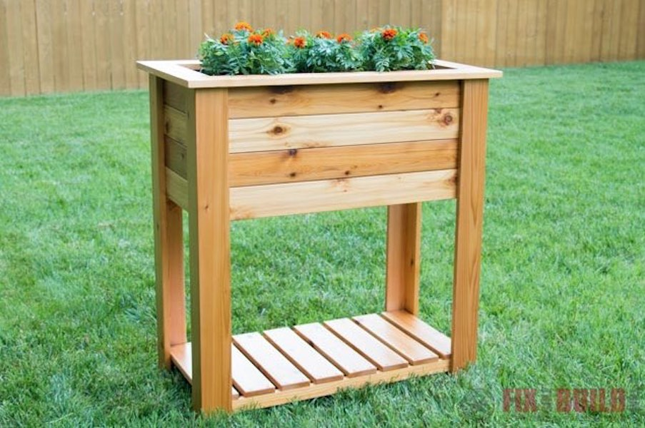 Build a Raised Planter Box With Shelf.