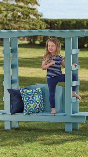 Free plans to build a Bench with Arbor for Children.
