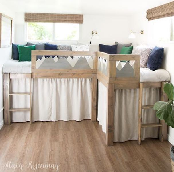 Build an L Shaped Kid Beds with Storage using free plans.