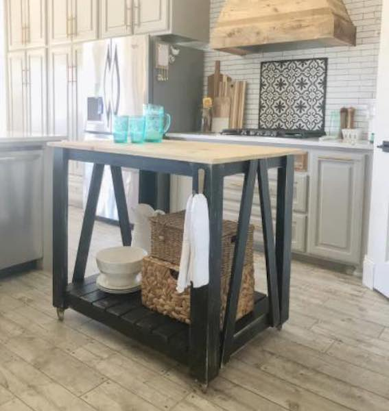 Free plans to build a Kitchen Island Cart.